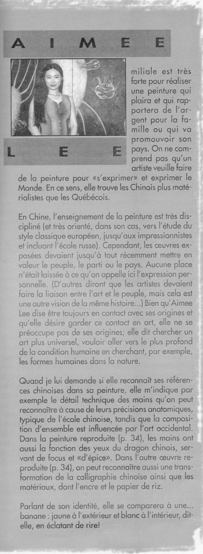 Auteure : Ève Langevin, revue Esse Arts + Opinions, 1999