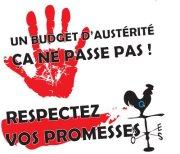 Un budget d'austérité_main rouge_crédit photo_Coalition du Québec et Chaudière-Appalaches opposée à la privatisation des services publics