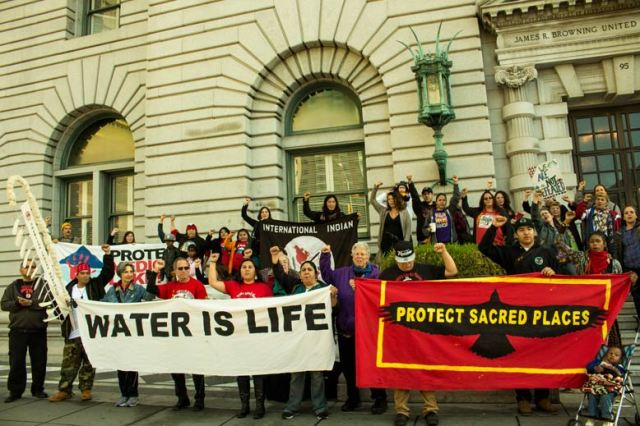 Indigenous Nations rallied to protect Medecine Lake from industial sacle Geothermal desecration. California, march 2015. Source :http://bsnorrell.blogspot.ca