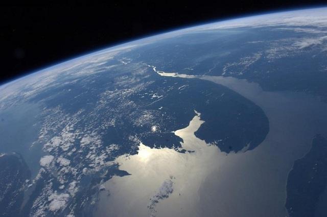 Photo satellite du fleuve St-Laurent, de la Gaspésie et la Côte Est de l'Amérique du Nord