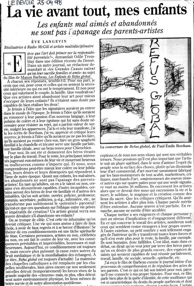 Mon texte sur le film «Les Enfants du Refus global»_p.1_Ève Langevin-1998_journal Le Devoir