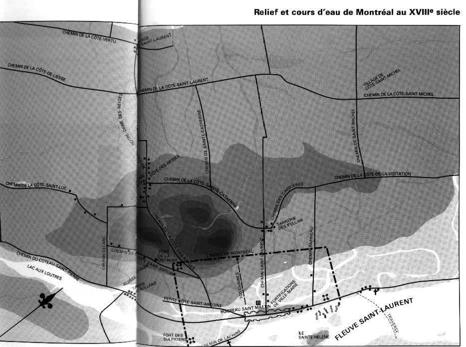 Carte des ruisseaux et chemins de Montréal au 18e siècle